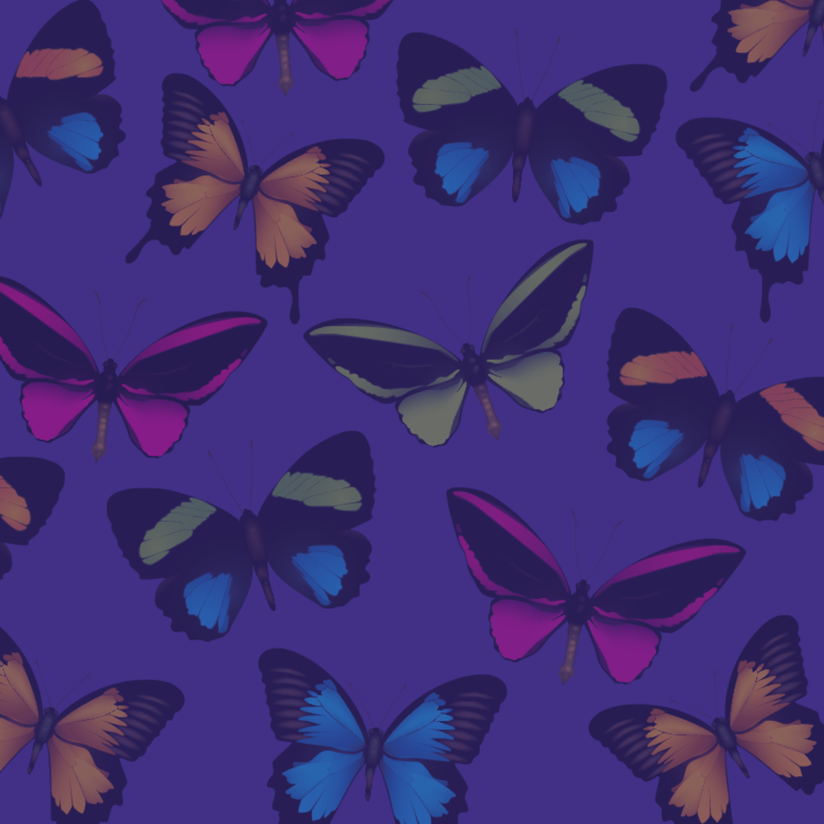 Multi-colored butterflies scrapbooking paper -- indigo background color