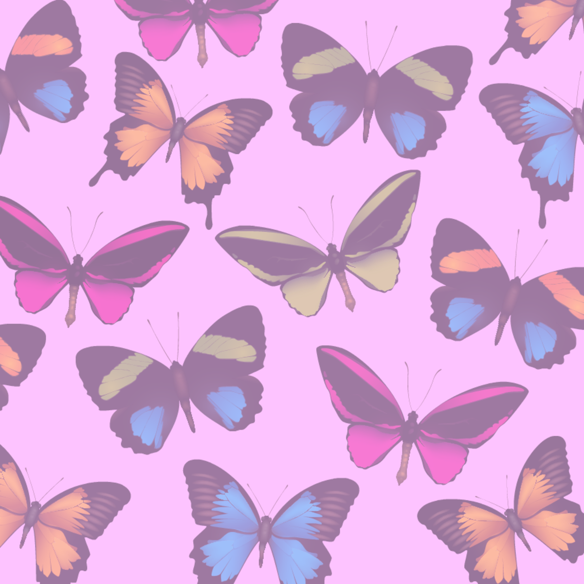 Faded butterfly scrapbooking paper -- pink background tint