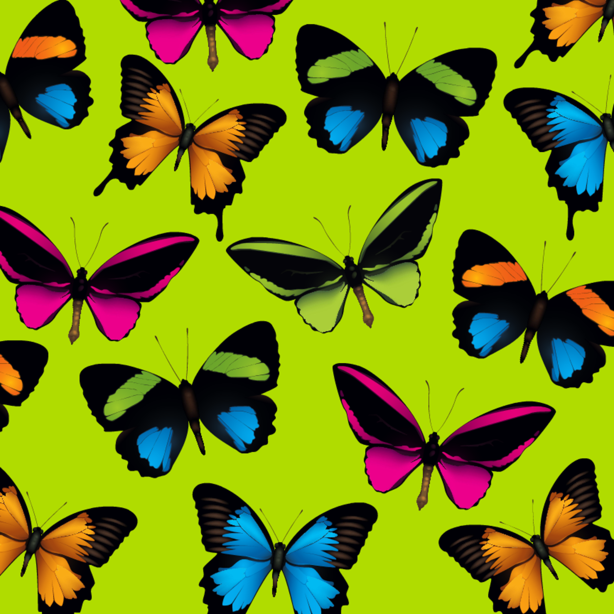 Multi-colored butterflies scrapbooking paper -- acid green background color