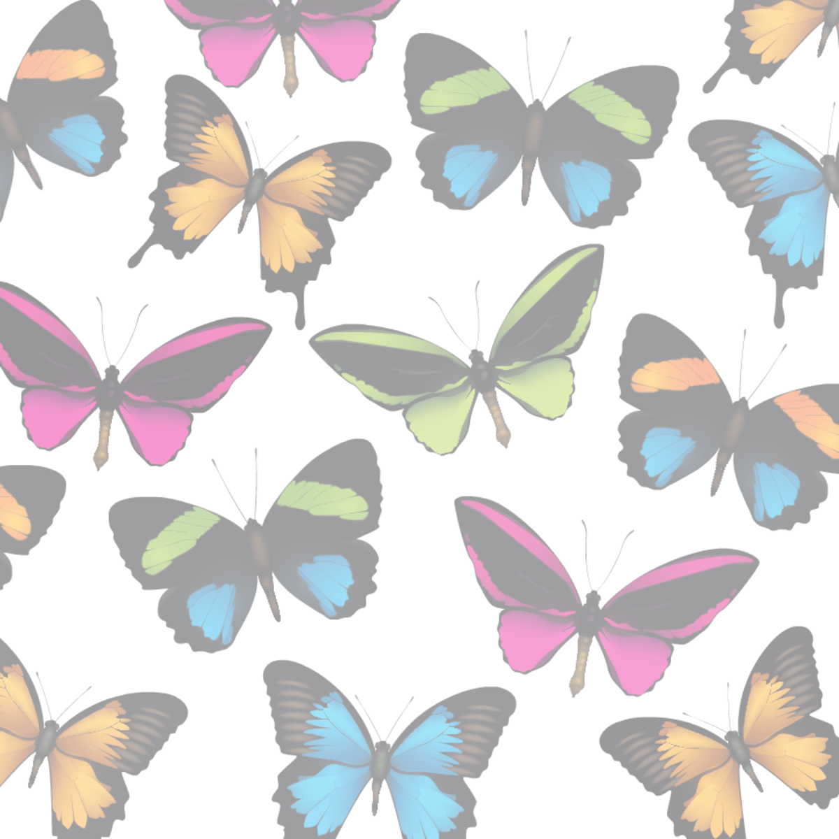 Faded butterfly scrapbook paper -- white background tint
