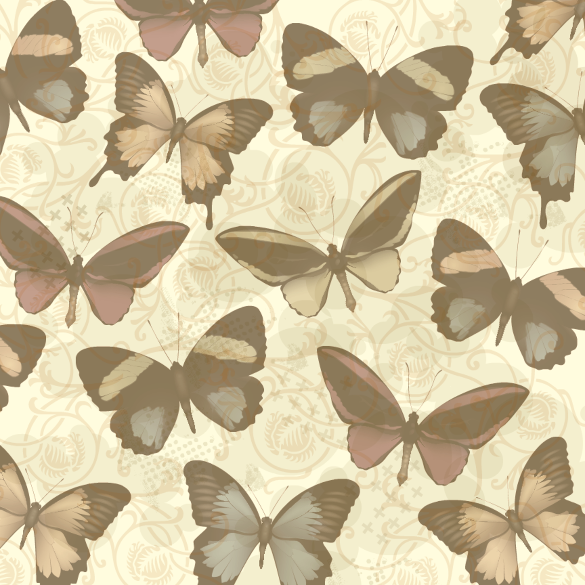 Vintage-look sepia tone butterfly scrapbook paper with scrolls and mottled background