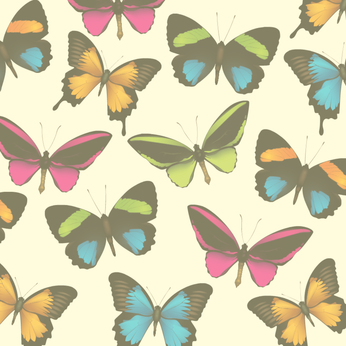 Faded butterfly scrapbook paper -- yellow background