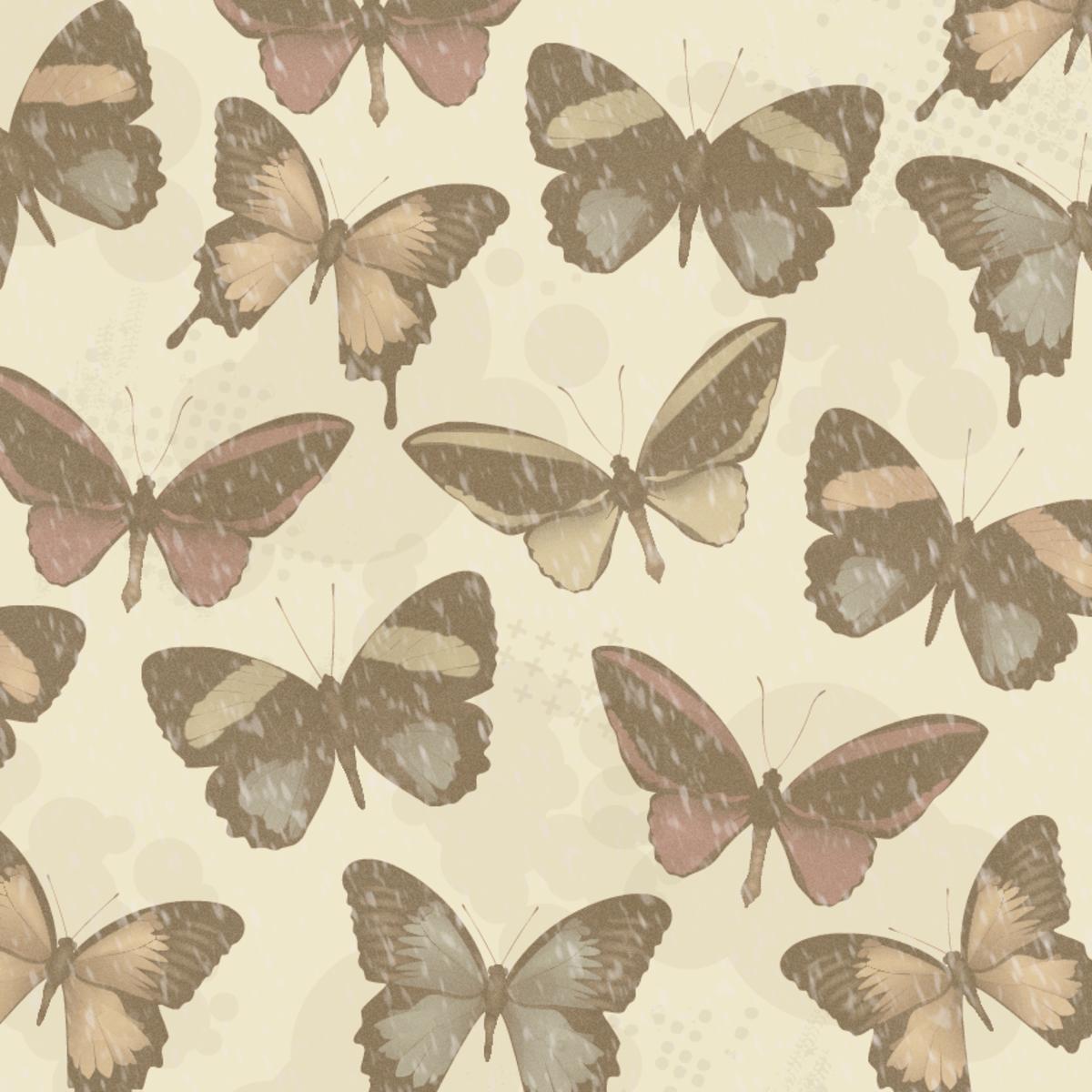 Vintage-look distressed sepia tone butterflies scrapbooking paper