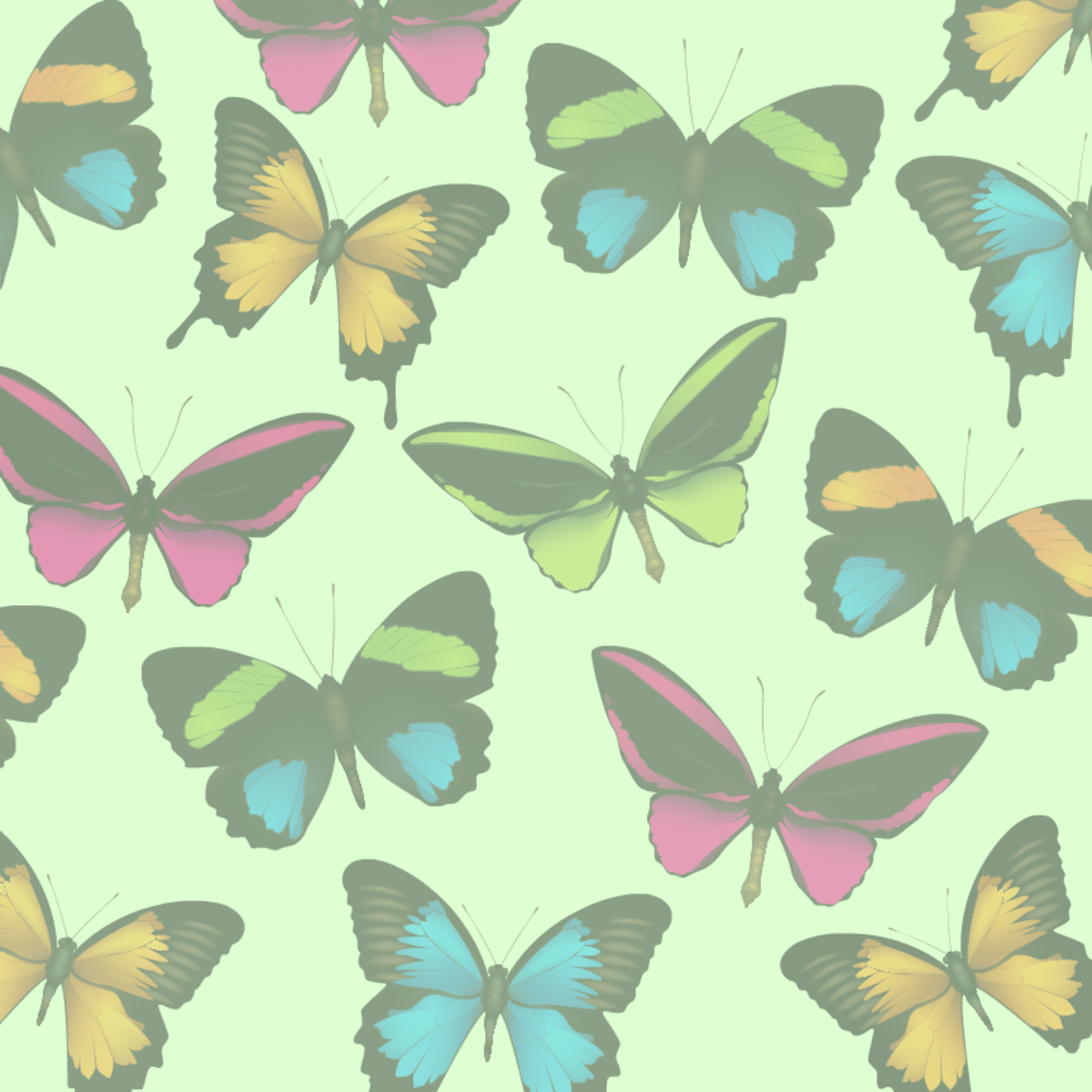 Faded butterflies scrapbook paper -- pale green background
