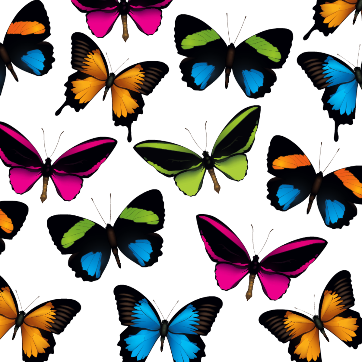 Multi-colored butterflies scrapbook paper -- white background