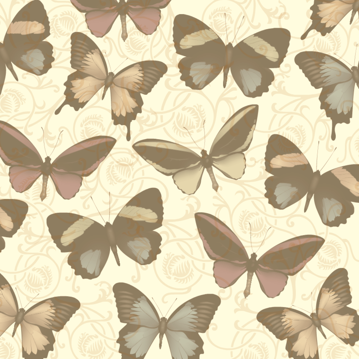 Vintage-look sepia tone butterflies scrapbooking paper with scrolls
