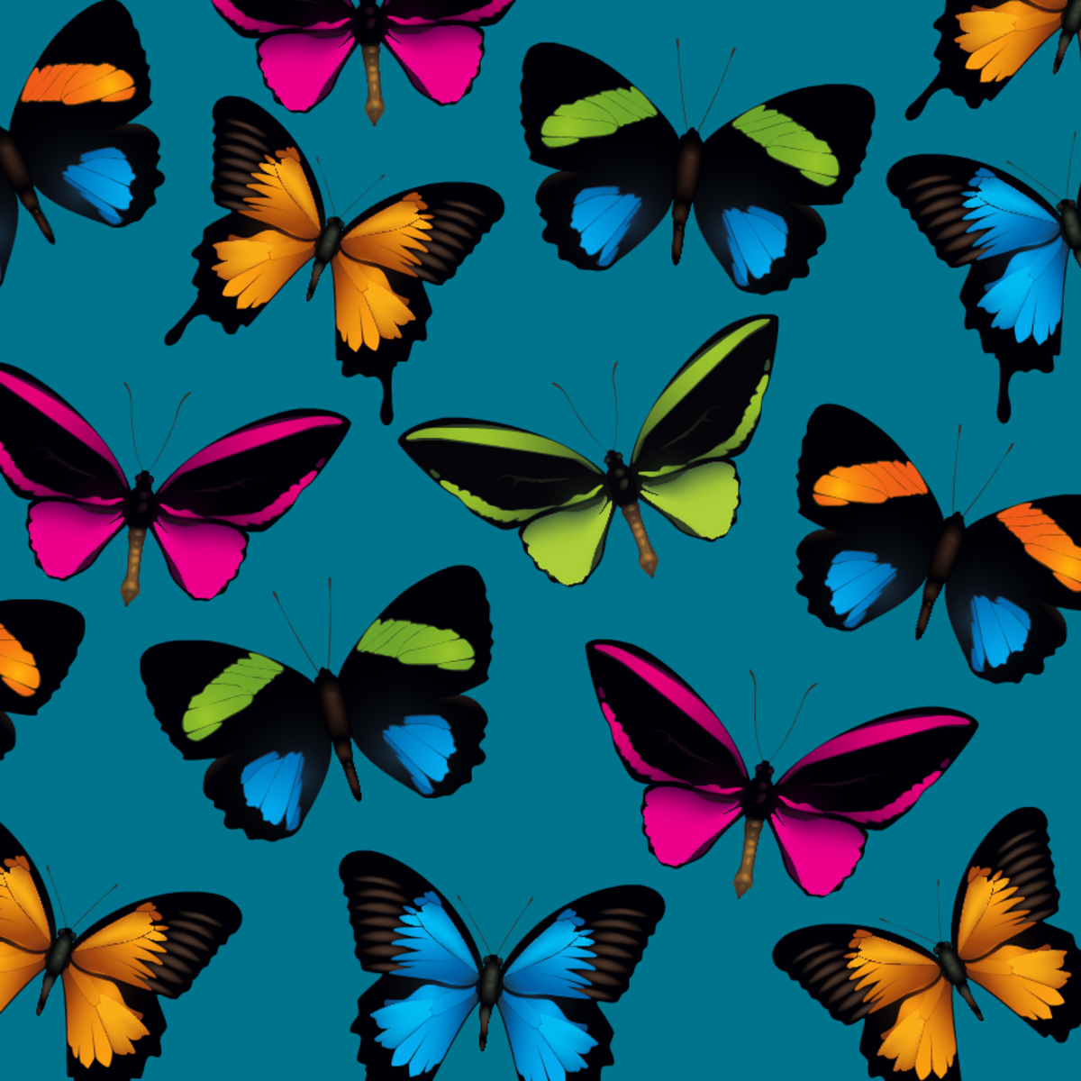 Multi-colored butterfly scrapbook paper -- teal background