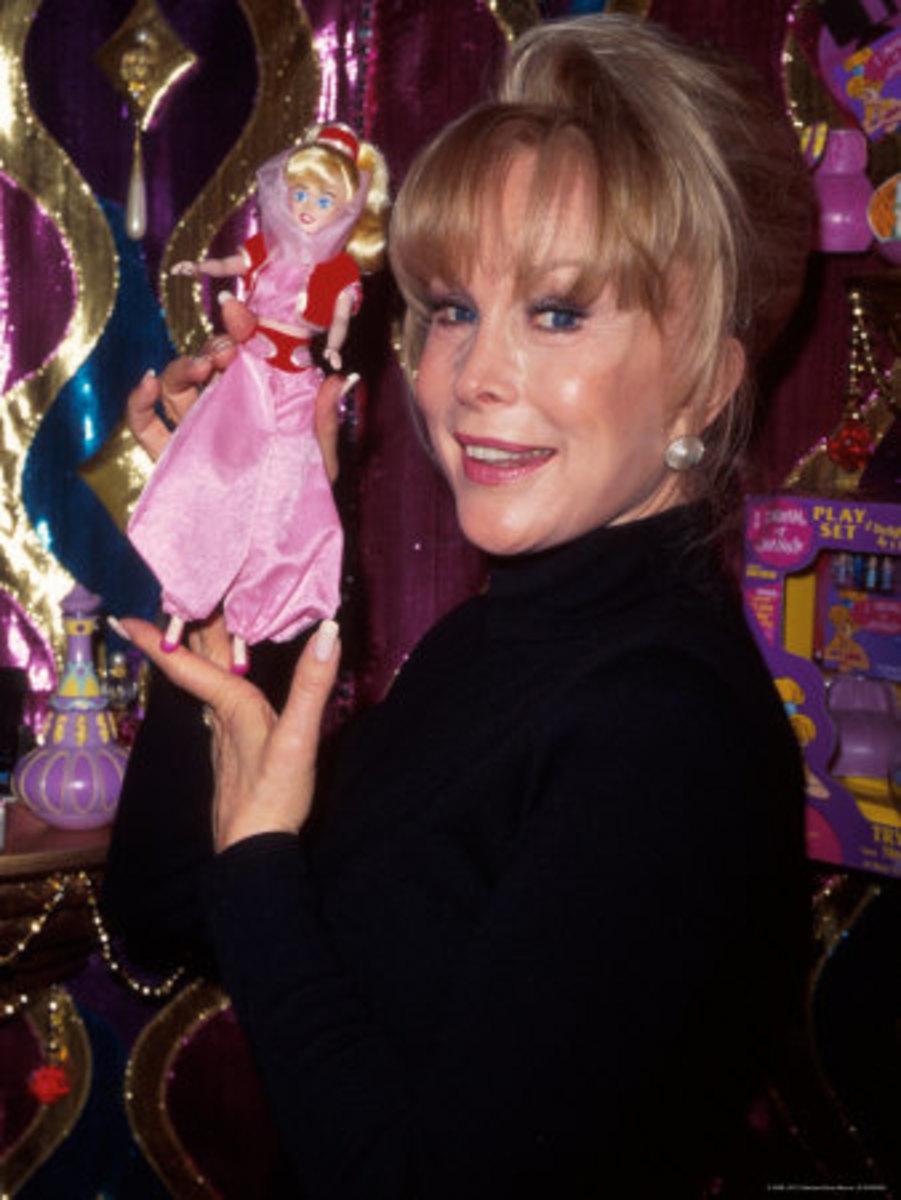 Barbara Eden holding her namesake