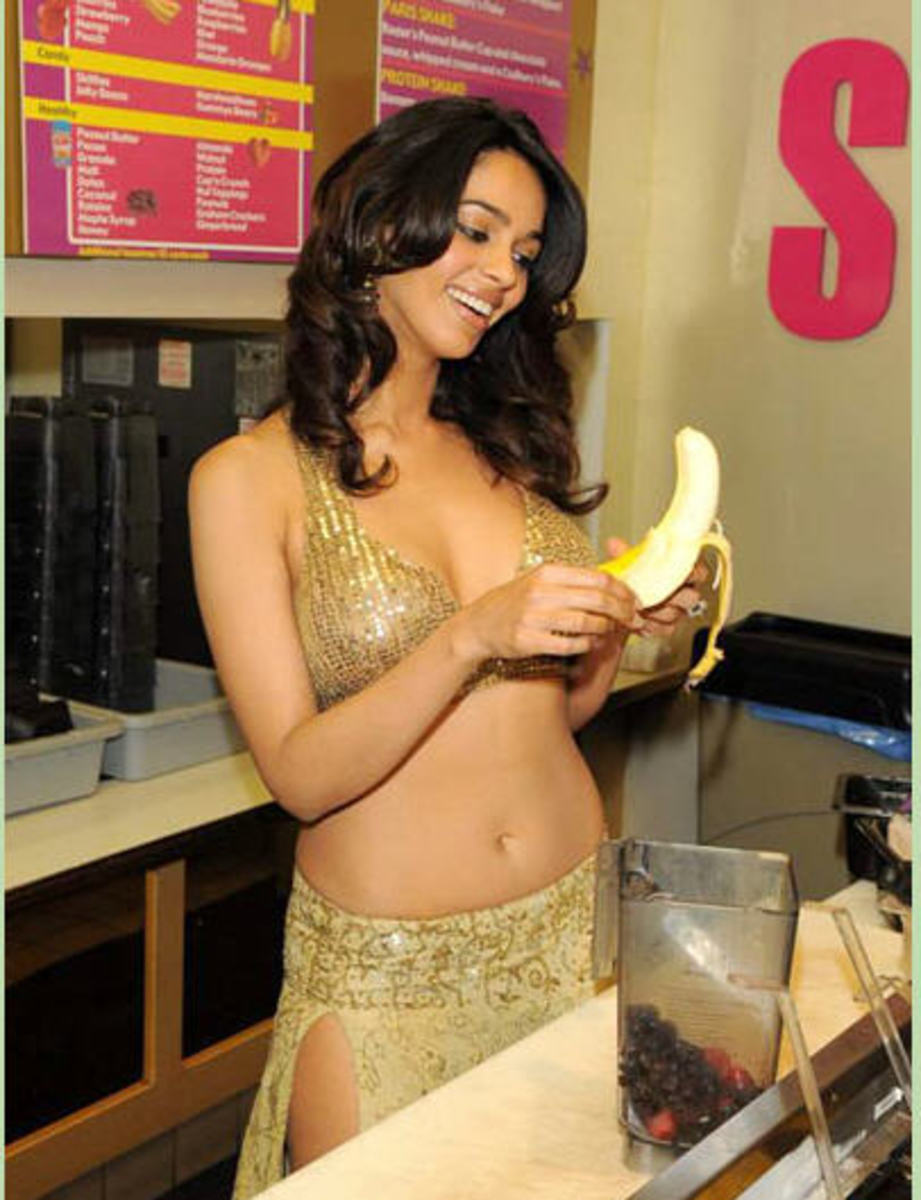 getting ready to suck on a banana