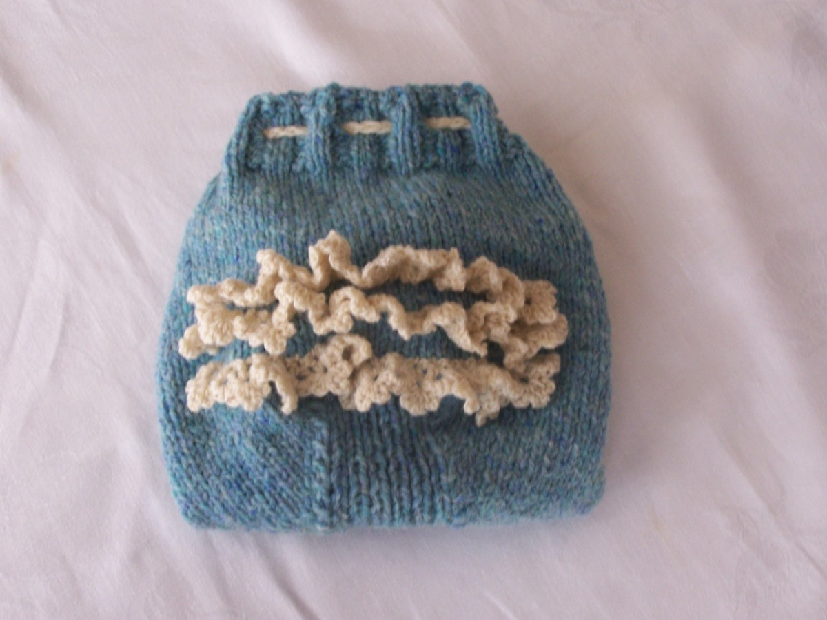 Wool Diaper Cover finished with crochetted wool lace.