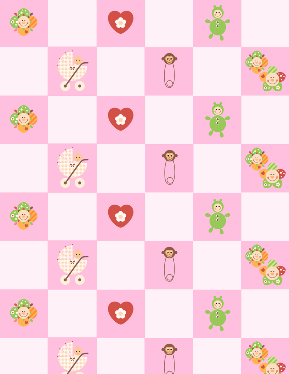 Free baby scrapbook paper: pink check with flowers, diaper pins, dolls, hearts and a baby girl in a carriage -- medium size