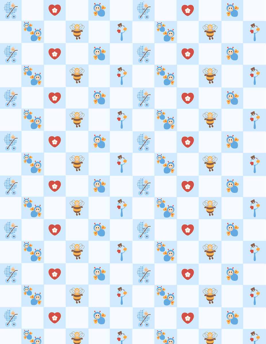 Free baby scrapbook papers: blue check with buzzing bees, hearts, rattles and little boys in baby carriages -- small size