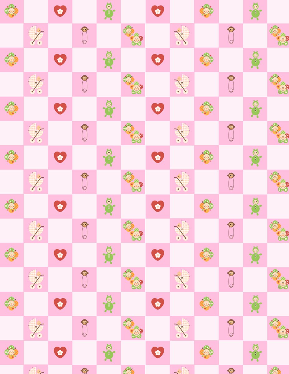 Baby scrapbook paper: pink check with flowers, diaper pins, dolls, hearts and a baby girl in a carriage -- small size