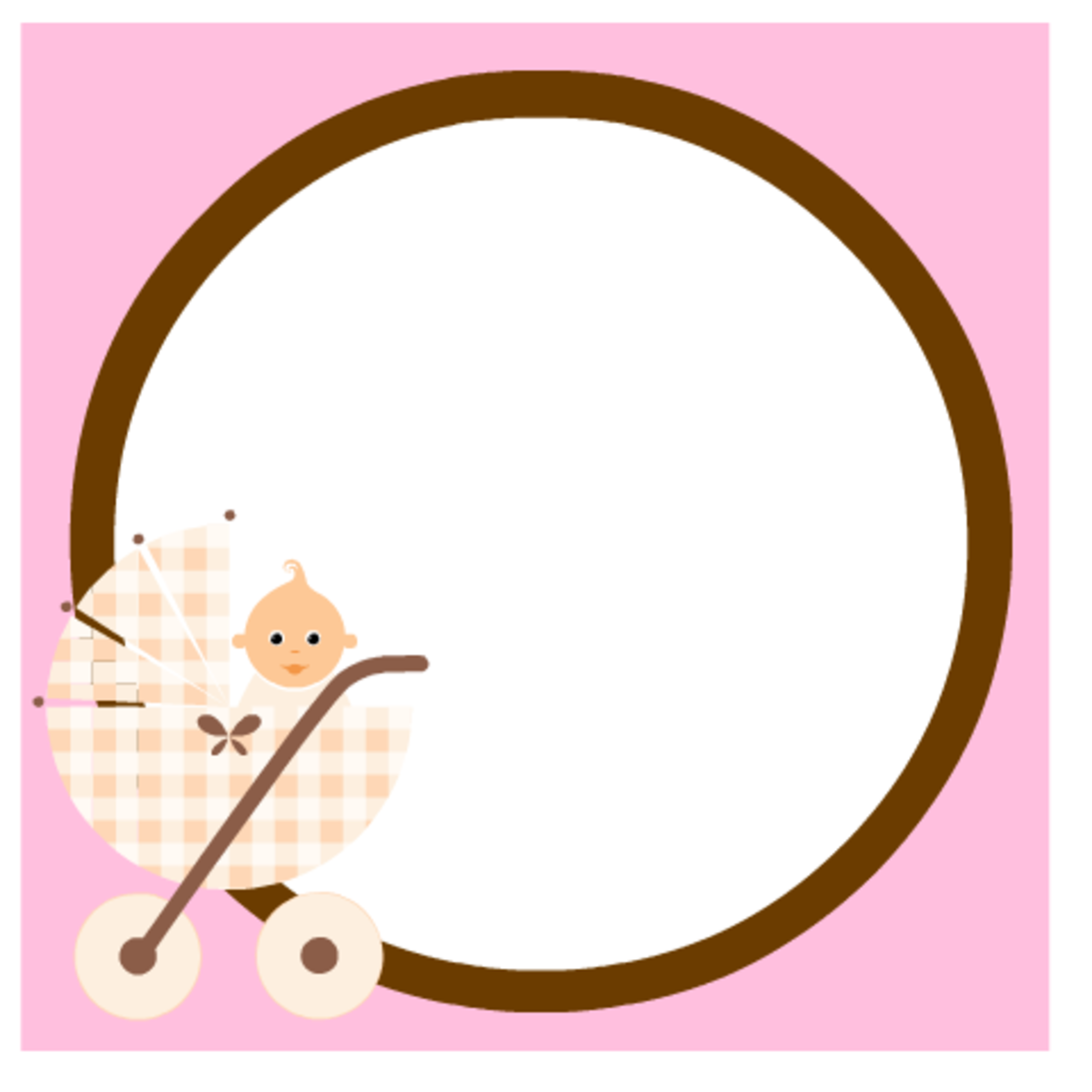 Baby scrapbook embellishment: pink with baby girl in baby carriage