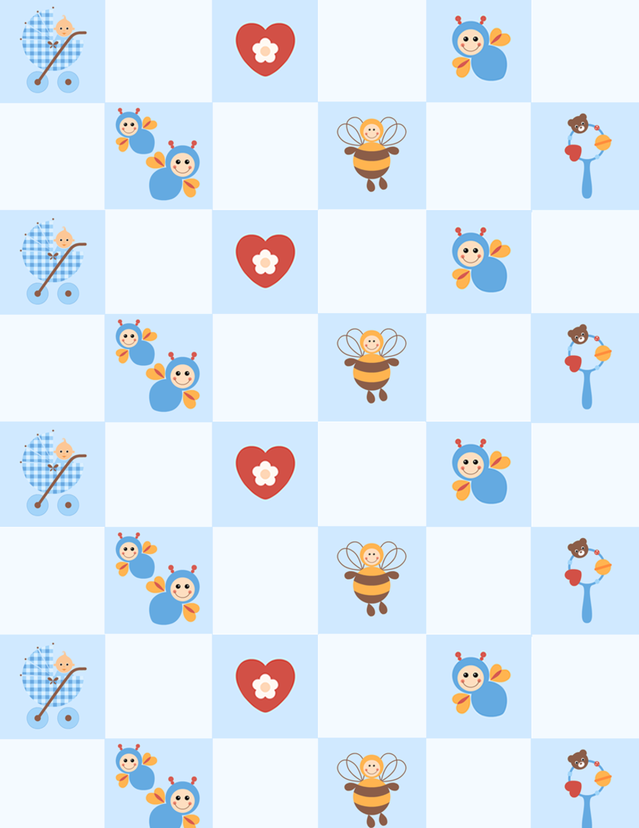 Baby scrapbook paper: blue check with buzzing bees, hearts, rattles and little boys in baby carriages -- medium size