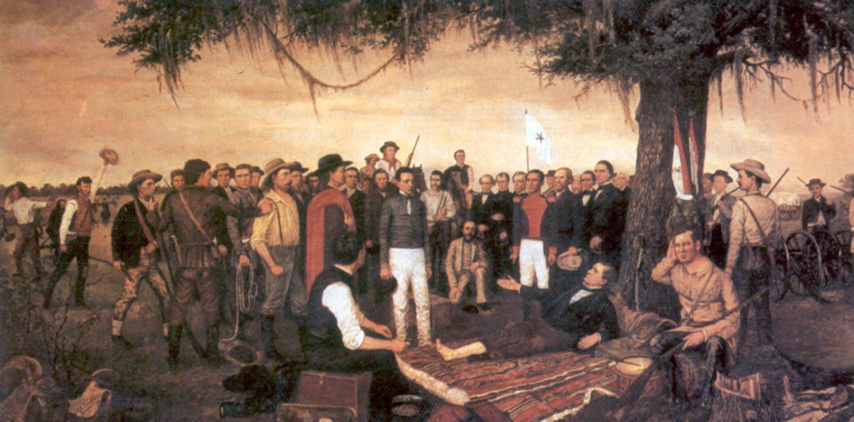 Gen. Santa Anna standing before the wounded Sam Houston after the Battle of San Jacinto.