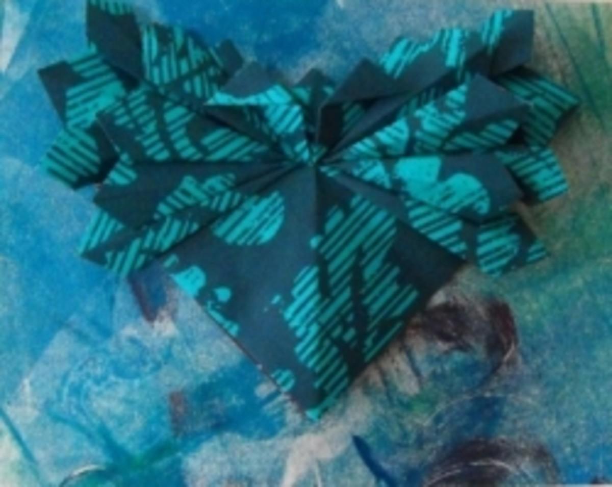 Flat unit origami on Monoprint