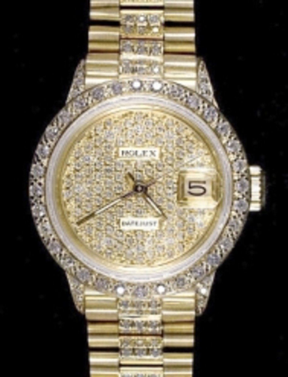 Ladies Full Pave Silver String Dial Rolex Super President