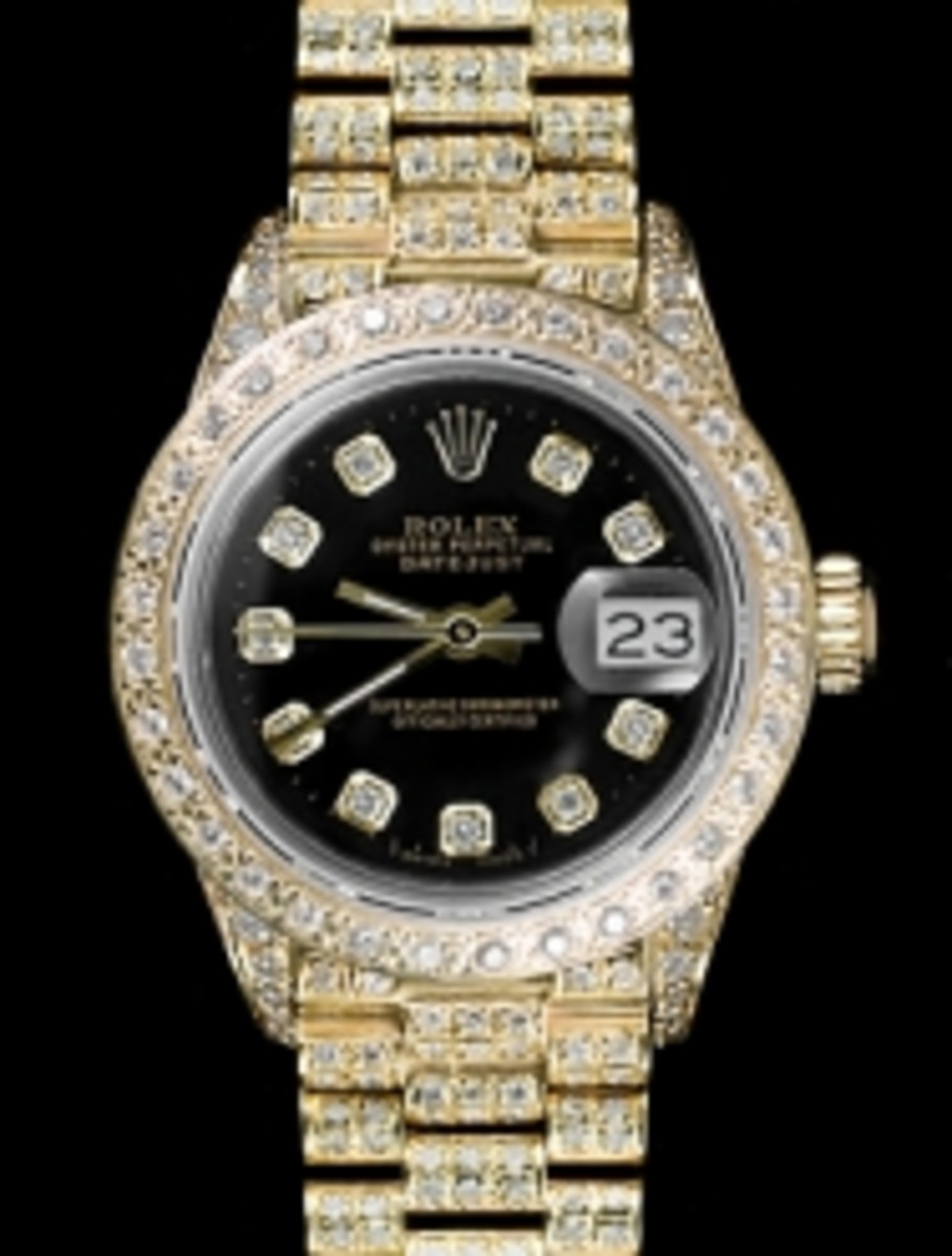 Ladies Full Pave Black Dial Rolex Super President