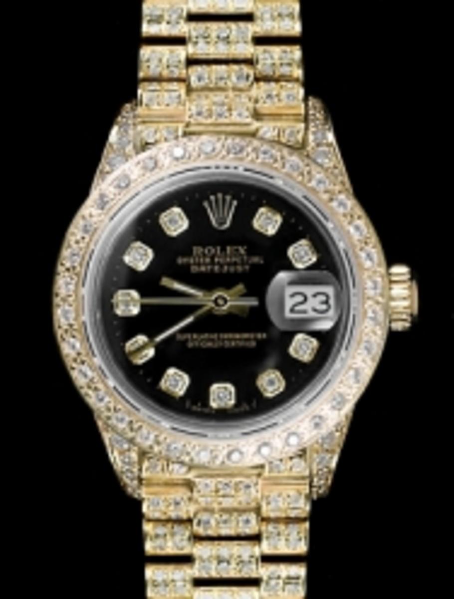 Ladies Full Pave Black Dial Rolex Super President