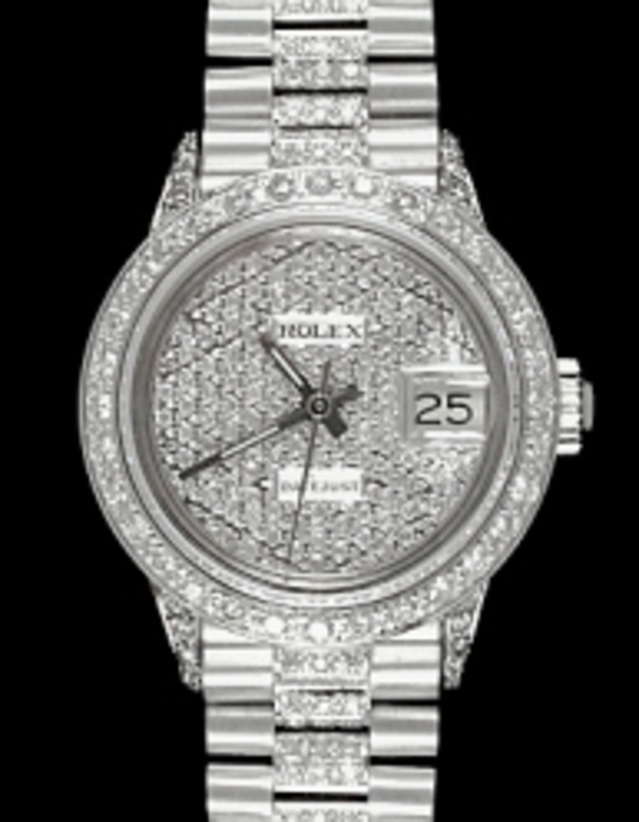 Ladies White Gold Pave Dial Rolex Super Presidents
