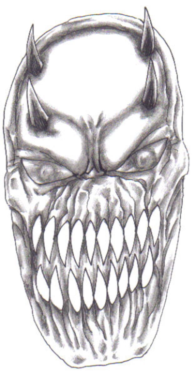 Monster creature head design, one of many sketch ideas in my sketchbooks. Art by Wayne Tully Copyright 2011.