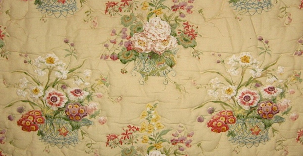 An outline quilted fabric