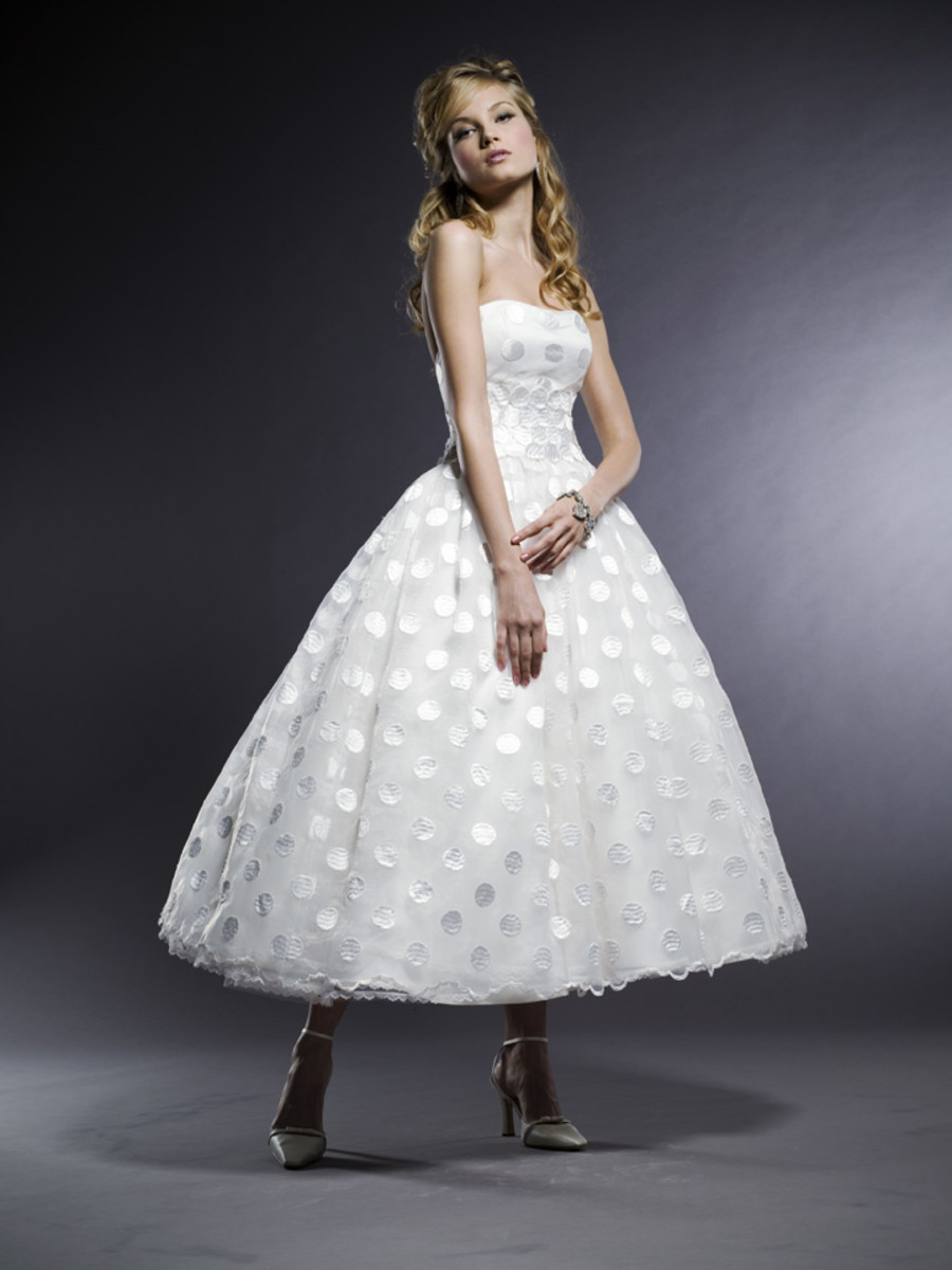 "photo credit, michelleroth.com  Style: Maya  ""Michelle Roth 50's inspired Strapless Silk Organza polka dot bodice with full gathered T-length skirt, Diamond White"""