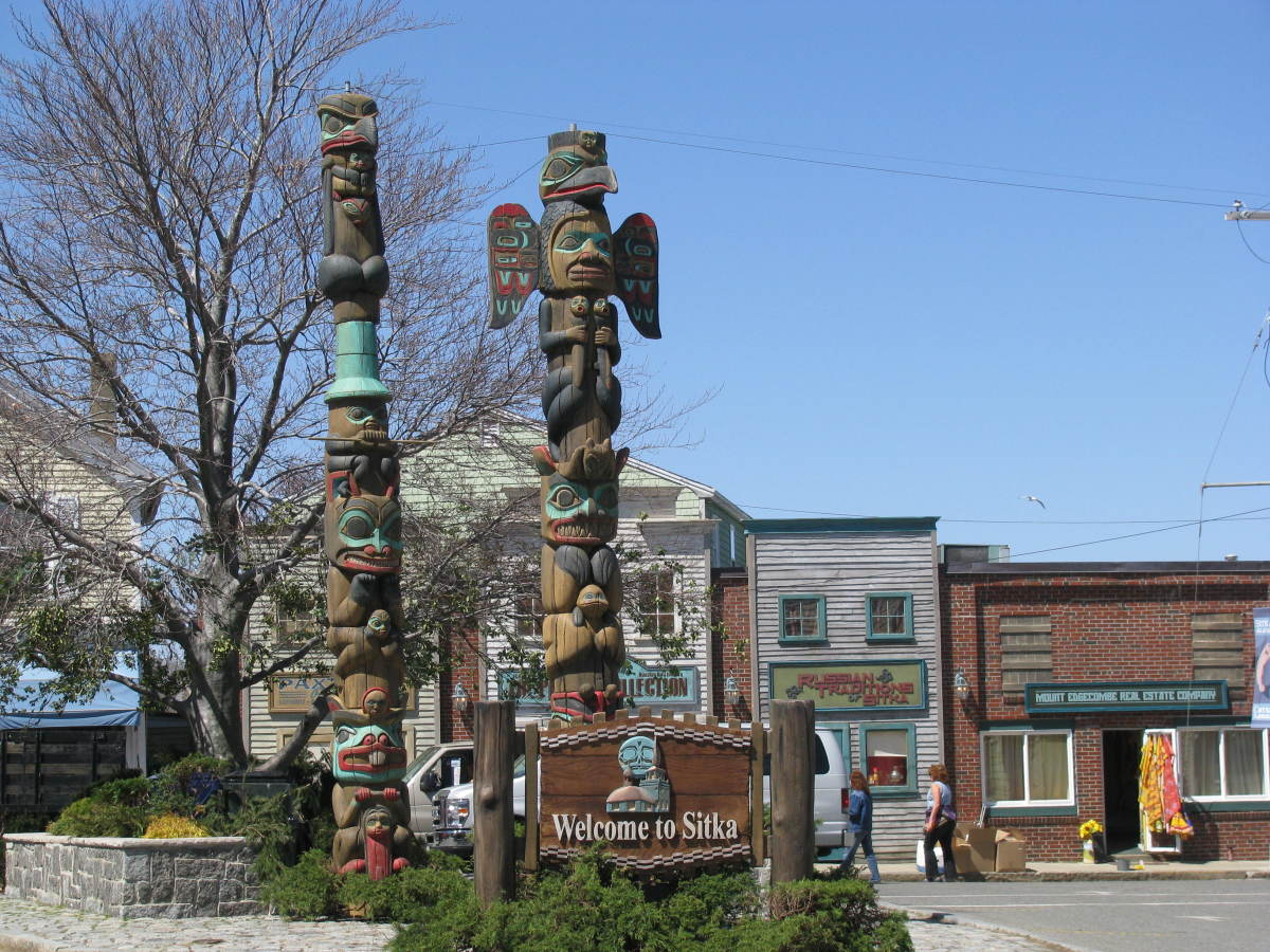 Totem poles suddenly appeared in Dock Square, in front of the entrance to Bearskin Neck.