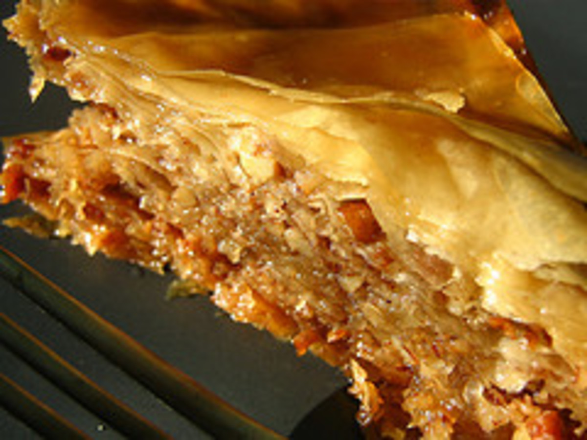 Middle Eastern baklava - layers of pastry and nuts soaked in syrup - is thought to have originated in Turkey. Photo by Christaface.