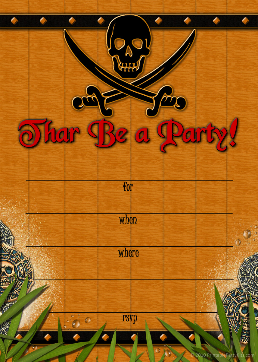 Free printable pirate invites
