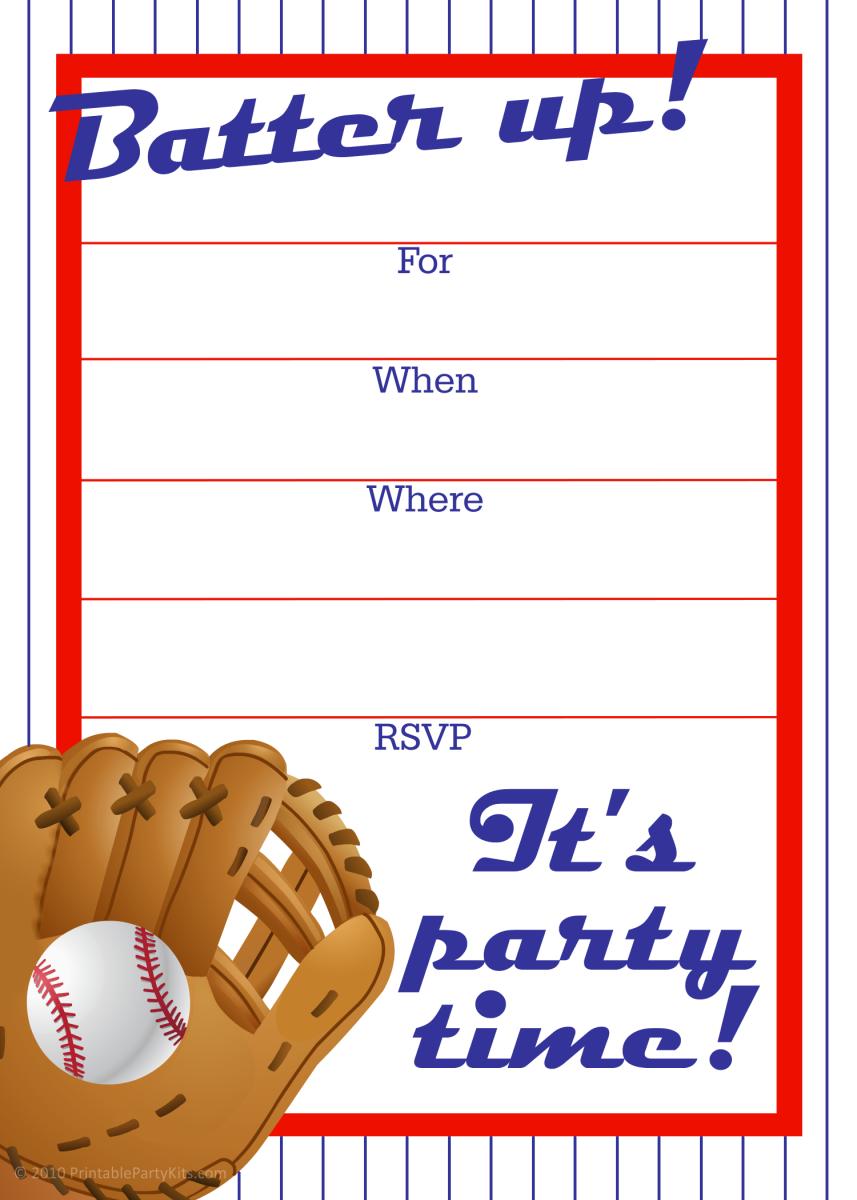 Free printable sports party invites