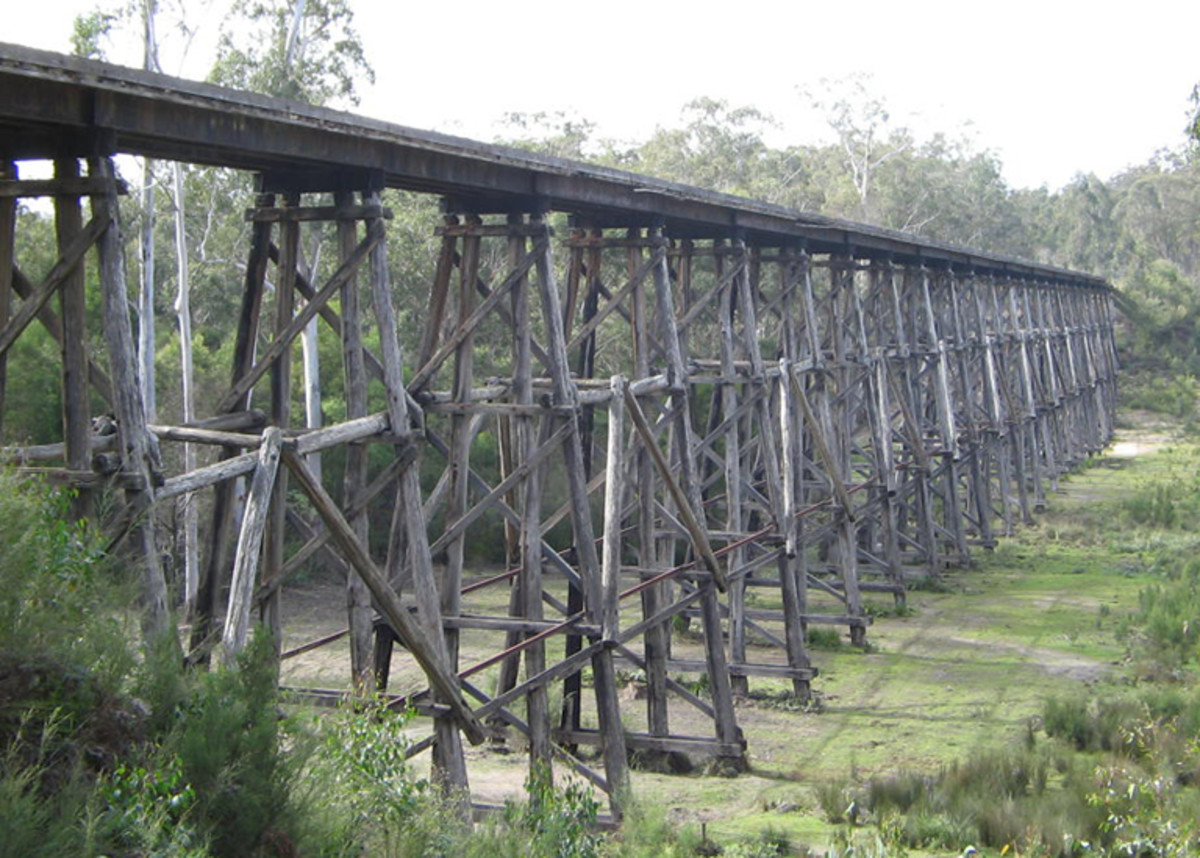 Stony Creek Trestle Bridge not stoney creek - built for steam locomotive  - History at Nowa Nowa near Lakes Entrance Vic