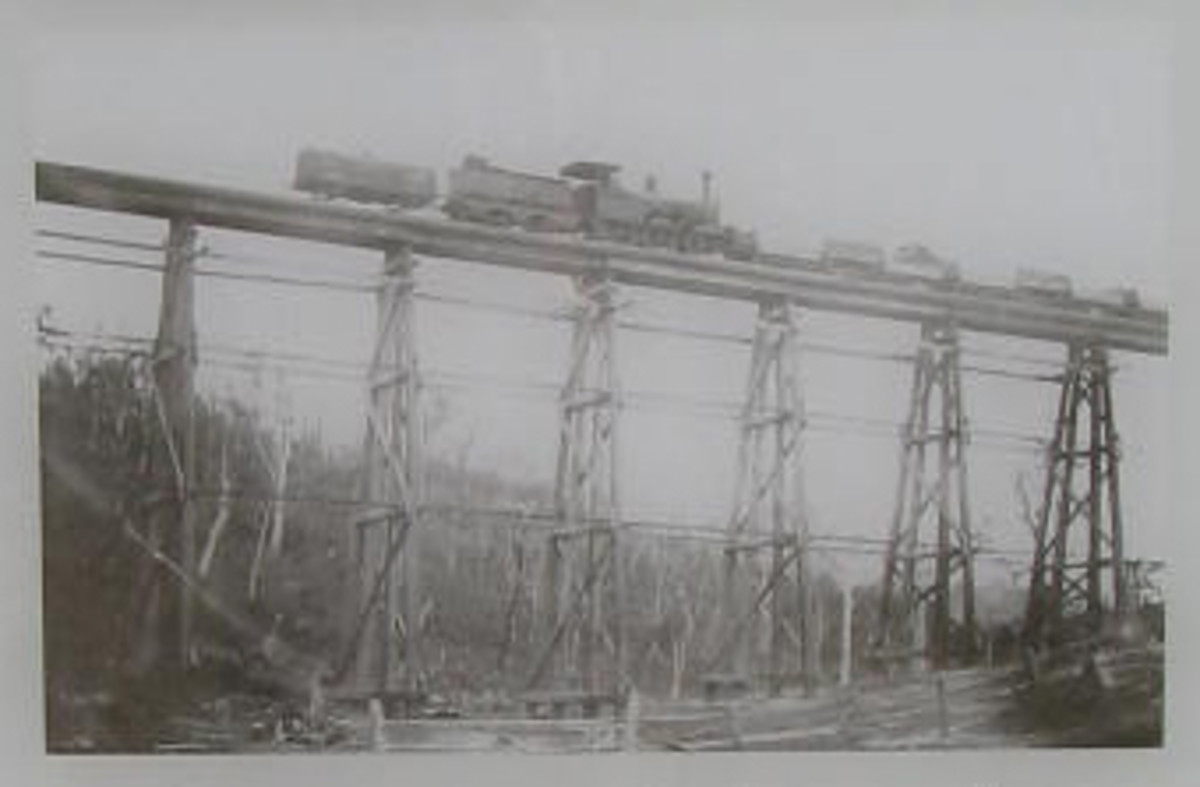 A steam locomotive crossing the Stony Creek Bridge.