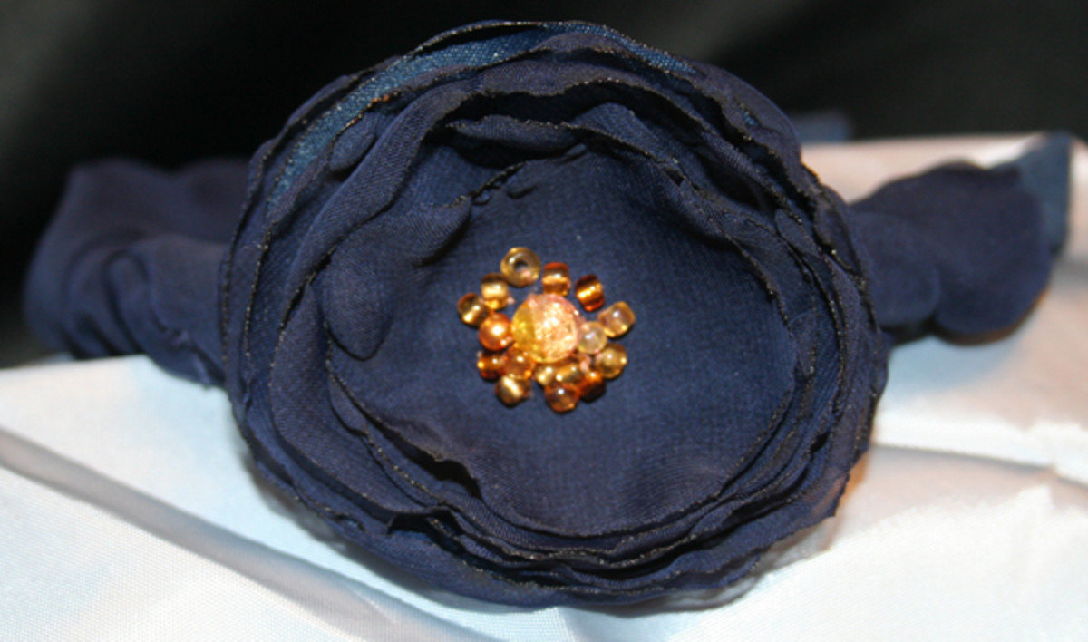 This one took the most time to make, since I covered the headband with two different navy blue materials.