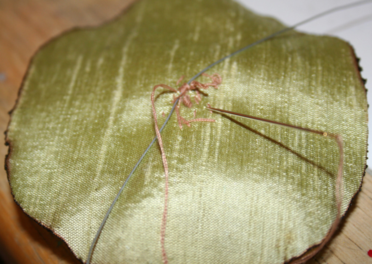 Back of flower - sewing floral wire to the flower