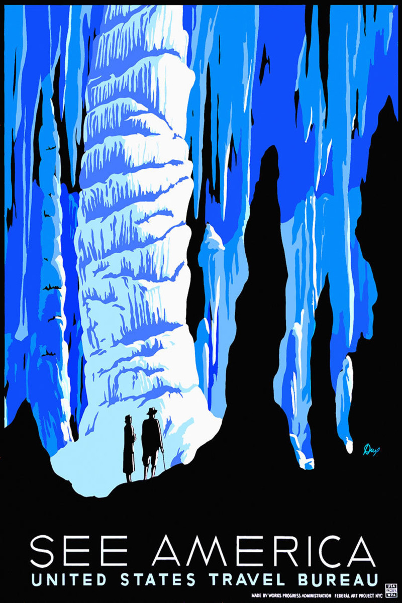 See America United States Travel Bureau vintage travel poster -- ice caverns