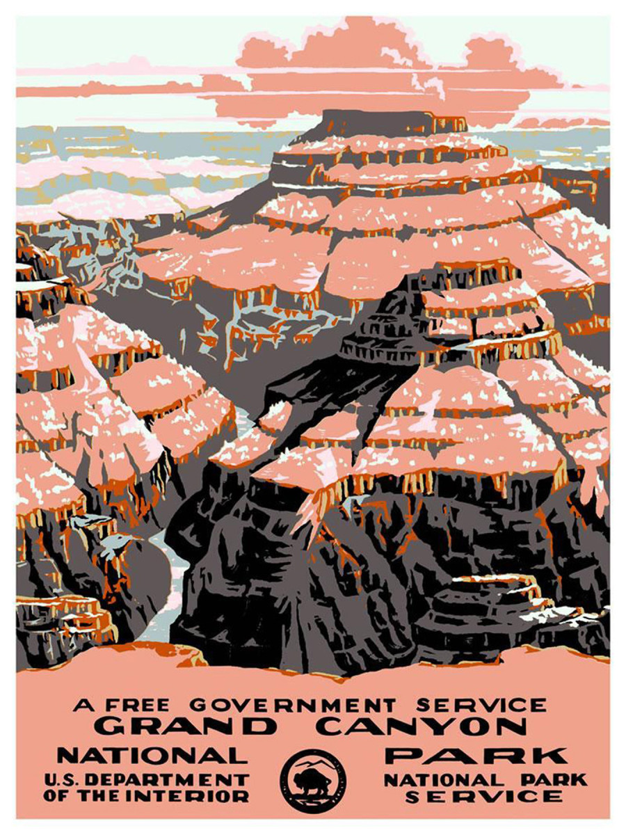 Gran Canyon National Park vintage travel poster