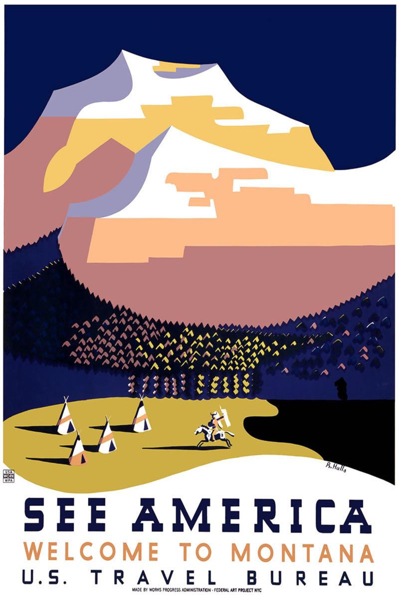 See America U.S. Travel Bureau vintage travel poster -- Welcome to Montana