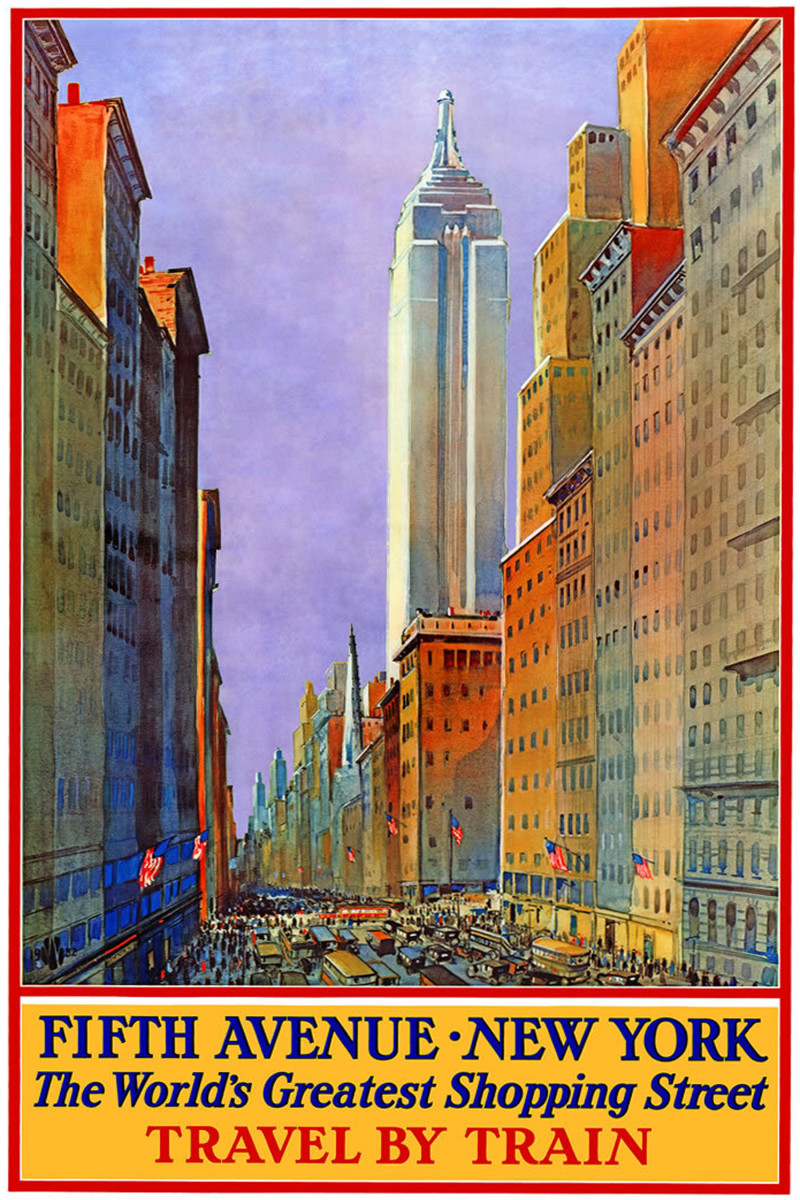 New York street scene vintage travel poster