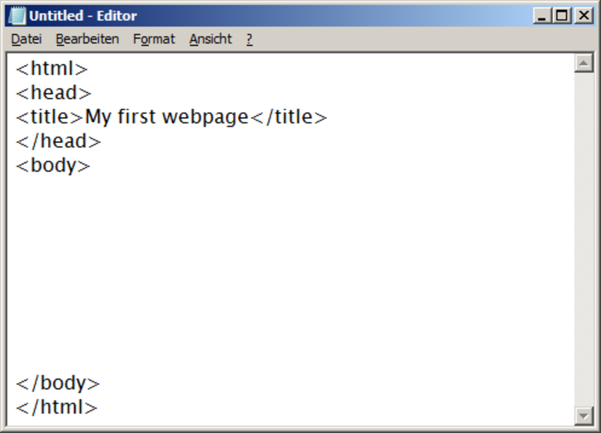 Type a title for your page between the commands for the title. You can choose any title you like, for example 'My first webpage'