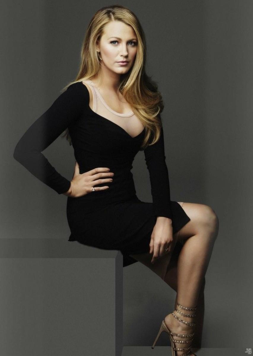 Blake Lively portrait in a little black dress