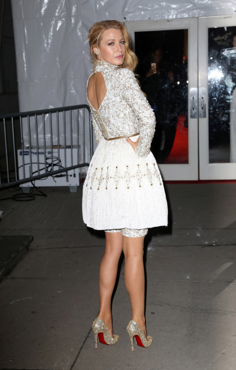 Blake Lively in a lovely above the knee dress and Christian Louboutin platform pumps