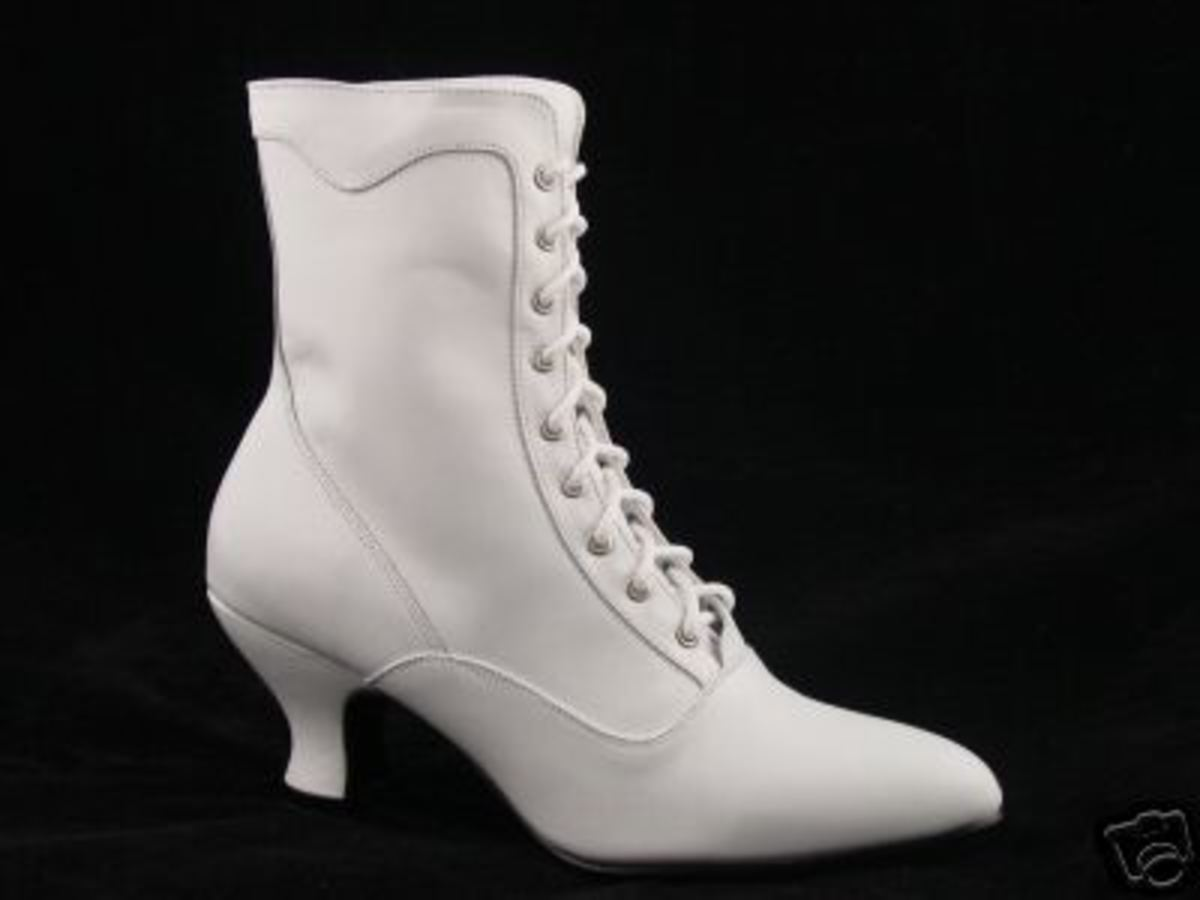 White Victorian Lace Up Boots