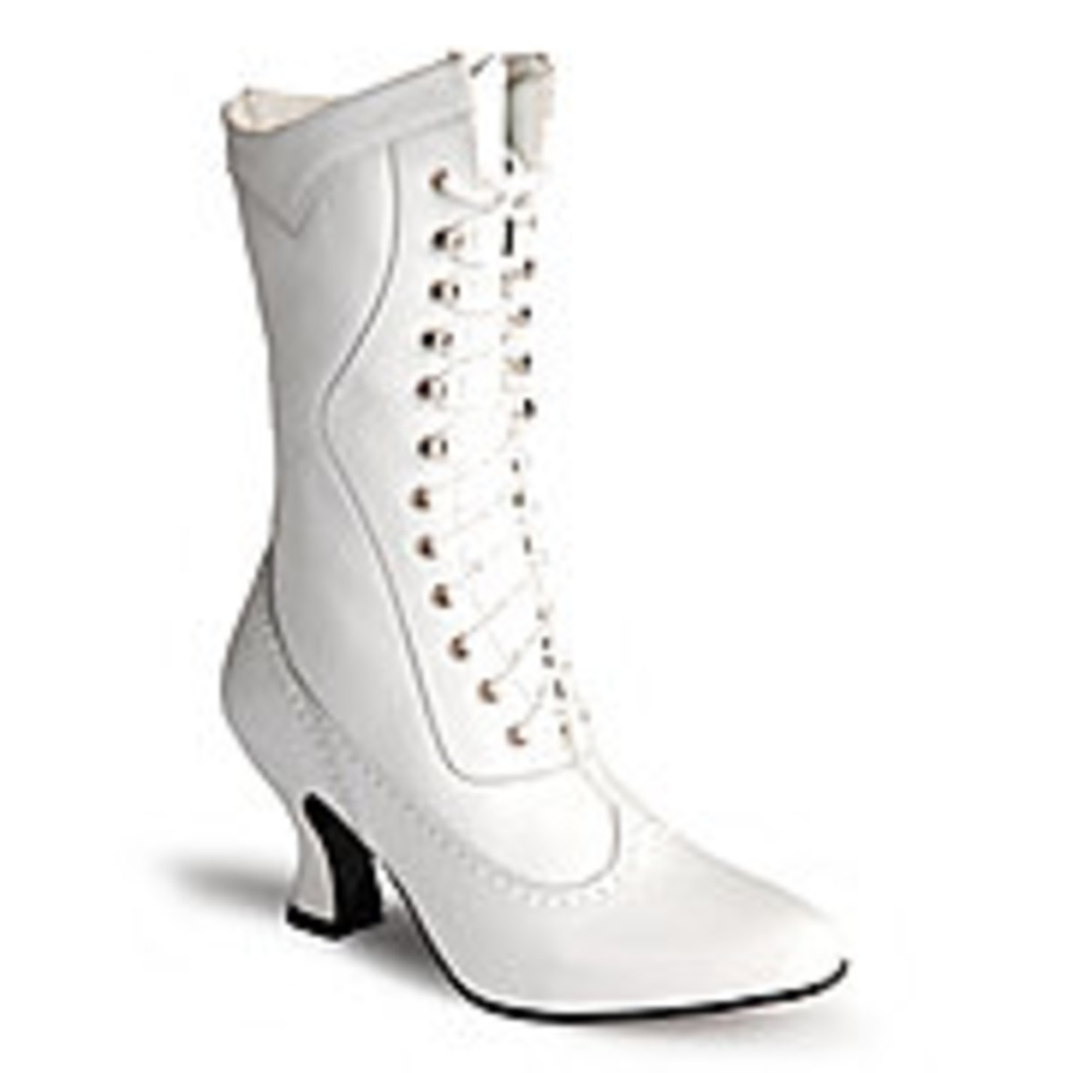 White Victorian lace-up boots
