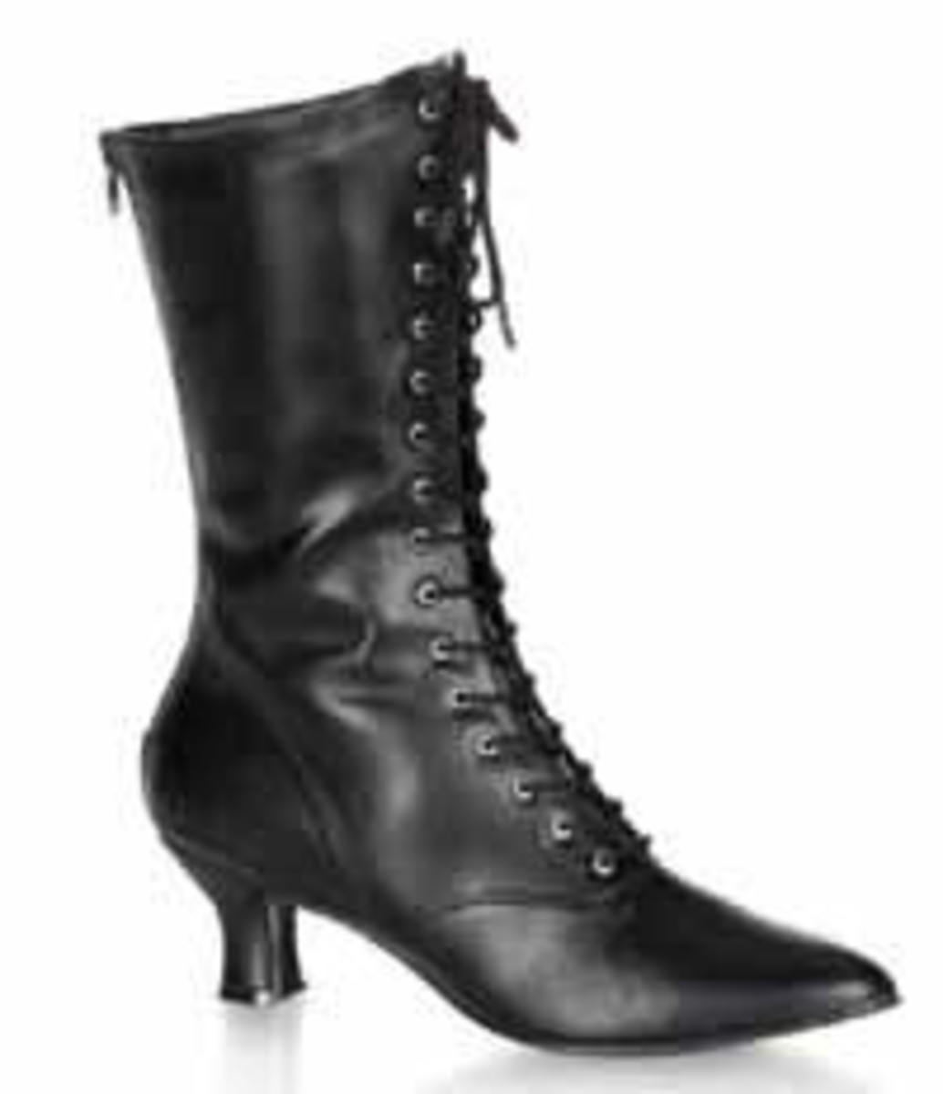Sexy black Victorian lace up boots