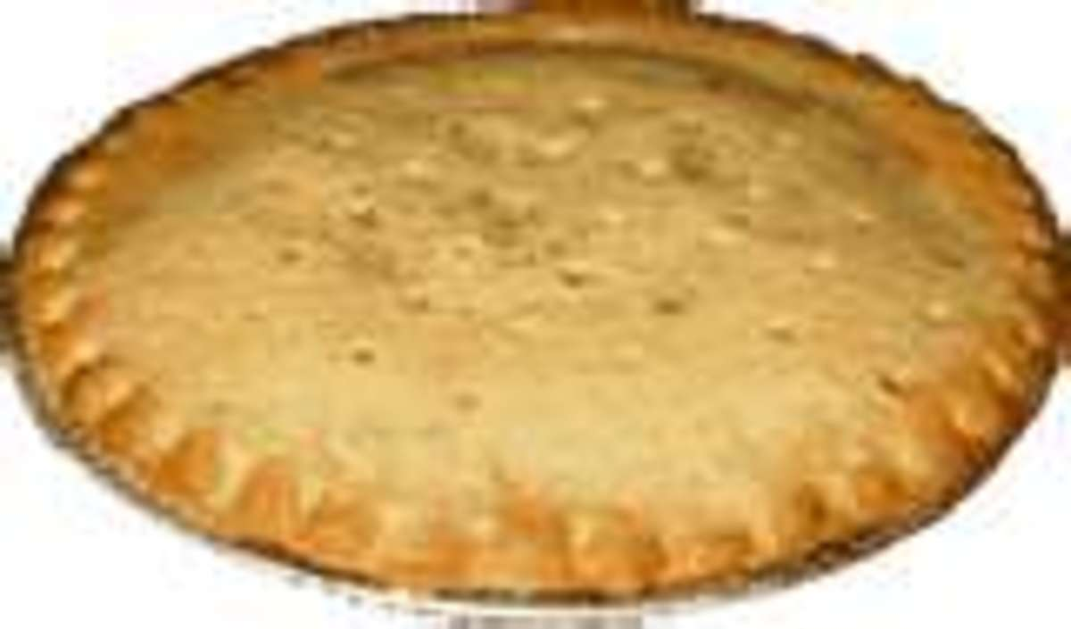 A full top crust may be added to this pie, or may be topped with strips of pastry.