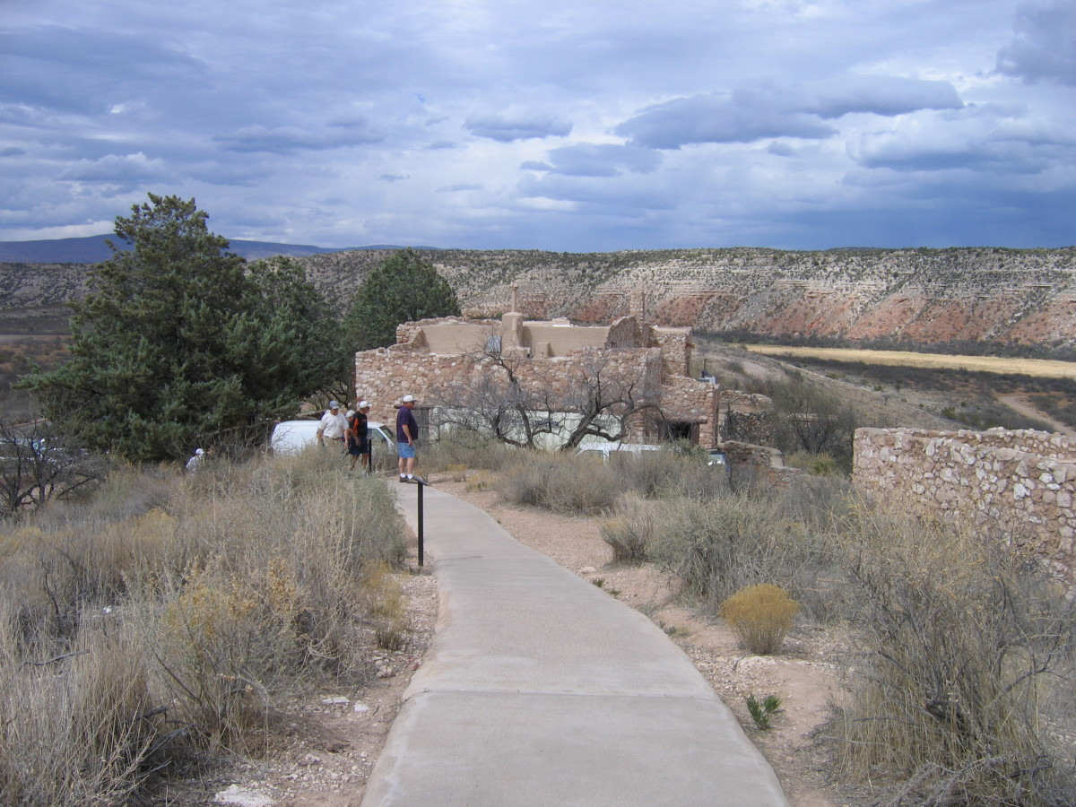 The interpretive center was designed to blend with the ruins.