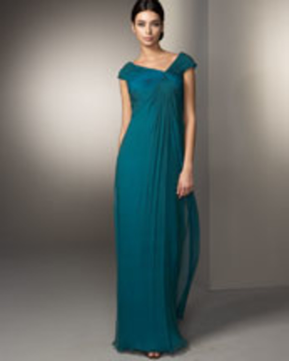 Tadashi Asymmetric Knotted Silk Gown, Deep Aqua, Asymmetric neckline gathered into knot at left chest, cap sleeves, shirred skirt; $390. Available at neimanmarcus.com. Photo credit neimanmarcus.com