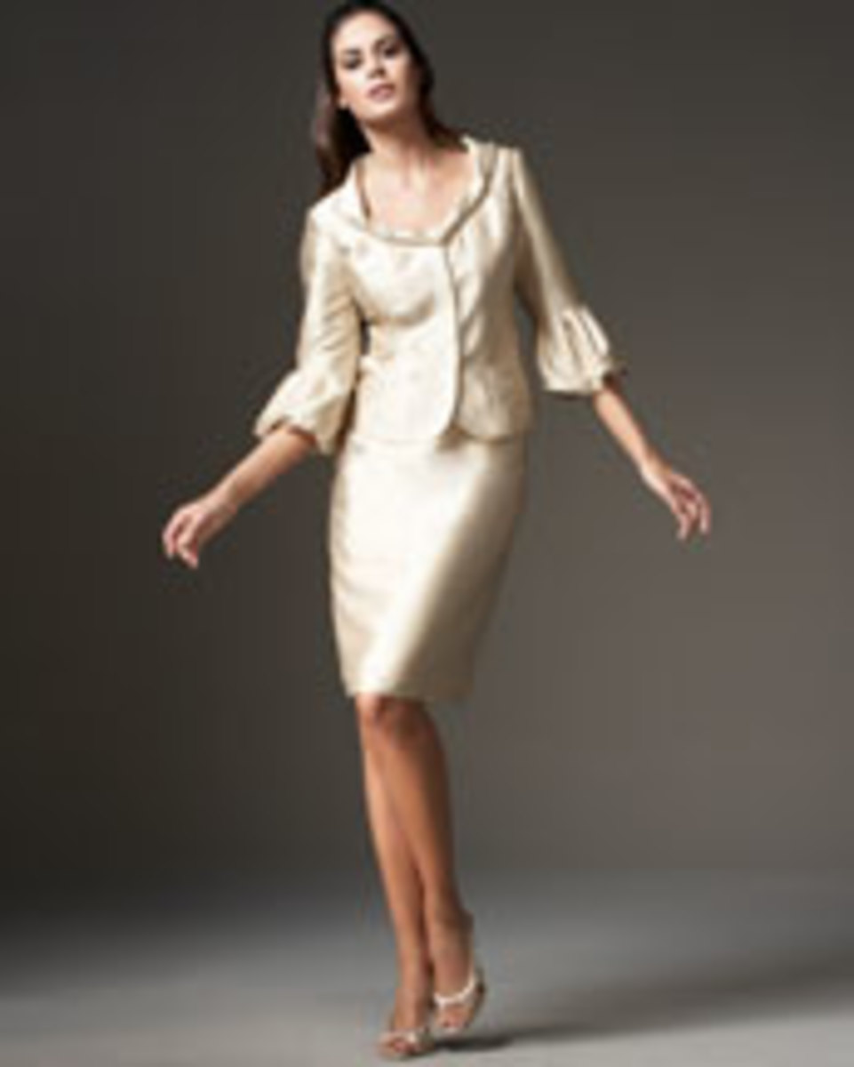 Bigio Collection Rolled-Neck skirt suit, pale gold, silk/wool, $450, available at neimanmarcus.com. Photo credit, neimanmarcus.com